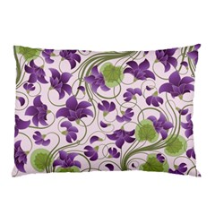 Flower Sakura Star Purple Green Leaf Pillow Case (two Sides) by Mariart
