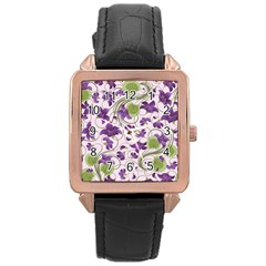 Flower Sakura Star Purple Green Leaf Rose Gold Leather Watch  by Mariart