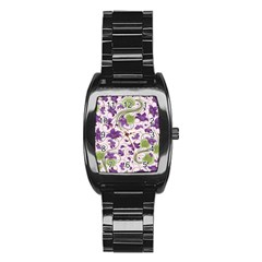 Flower Sakura Star Purple Green Leaf Stainless Steel Barrel Watch by Mariart