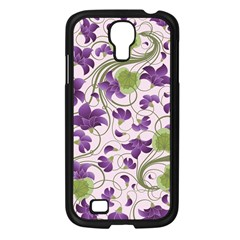 Flower Sakura Star Purple Green Leaf Samsung Galaxy S4 I9500/ I9505 Case (black) by Mariart