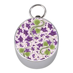 Flower Sakura Star Purple Green Leaf Mini Silver Compasses by Mariart