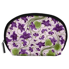 Flower Sakura Star Purple Green Leaf Accessory Pouches (large)  by Mariart