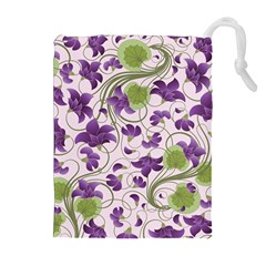 Flower Sakura Star Purple Green Leaf Drawstring Pouches (extra Large) by Mariart
