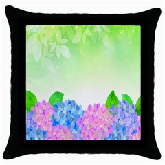 Fruit Flower Leaf Throw Pillow Case (black) by Mariart