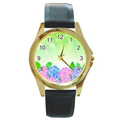 Fruit Flower Leaf Round Gold Metal Watch by Mariart