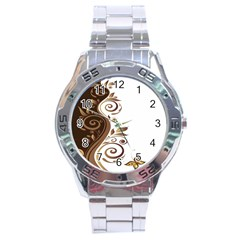 Leaf Brown Butterfly Stainless Steel Analogue Watch