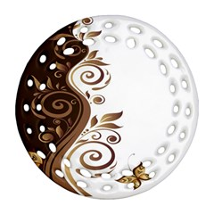Leaf Brown Butterfly Ornament (round Filigree)