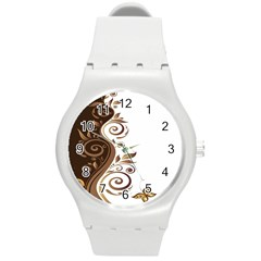 Leaf Brown Butterfly Round Plastic Sport Watch (m) by Mariart