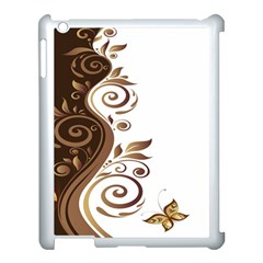 Leaf Brown Butterfly Apple Ipad 3/4 Case (white)