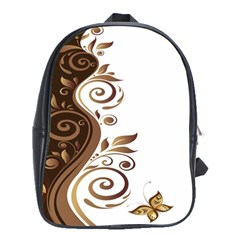 Leaf Brown Butterfly School Bags (xl)  by Mariart