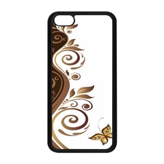 Leaf Brown Butterfly Apple Iphone 5c Seamless Case (black) by Mariart