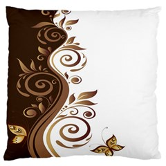 Leaf Brown Butterfly Large Flano Cushion Case (two Sides) by Mariart