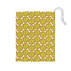 Horned Melon Green Fruit Drawstring Pouches (large)  by Mariart