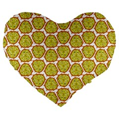 Horned Melon Green Fruit Large 19  Premium Flano Heart Shape Cushions by Mariart