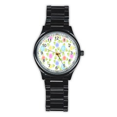 Fruit Grapes Purple Yellow Blue Pink Rainbow Leaf Green Stainless Steel Round Watch by Mariart
