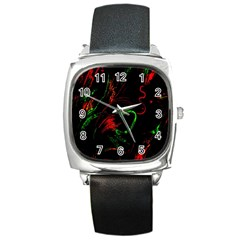 Paint Black Red Green Square Metal Watch by Mariart