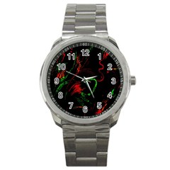 Paint Black Red Green Sport Metal Watch by Mariart