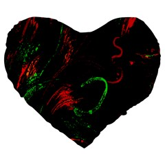 Paint Black Red Green Large 19  Premium Flano Heart Shape Cushions by Mariart
