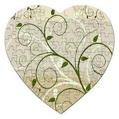 Leaf Sexy Green Gray Jigsaw Puzzle (heart) by Mariart
