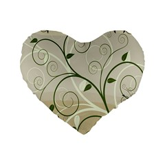 Leaf Sexy Green Gray Standard 16  Premium Heart Shape Cushions by Mariart