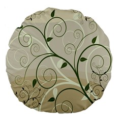 Leaf Sexy Green Gray Large 18  Premium Flano Round Cushions