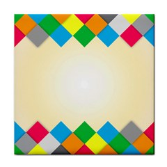 Plaid Wave Chevron Rainbow Color Tile Coasters by Mariart