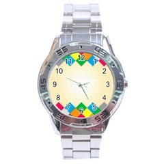 Plaid Wave Chevron Rainbow Color Stainless Steel Analogue Watch by Mariart