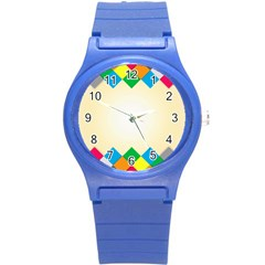 Plaid Wave Chevron Rainbow Color Round Plastic Sport Watch (s) by Mariart