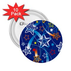 Line Star Space Blue Sky Light Rainbow Red Orange White Yellow 2 25  Buttons (10 Pack)