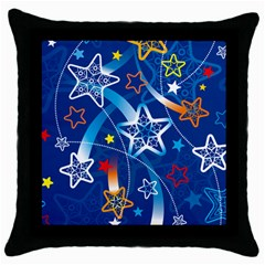 Line Star Space Blue Sky Light Rainbow Red Orange White Yellow Throw Pillow Case (black) by Mariart