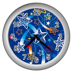 Line Star Space Blue Sky Light Rainbow Red Orange White Yellow Wall Clocks (silver)  by Mariart