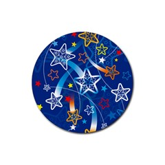 Line Star Space Blue Sky Light Rainbow Red Orange White Yellow Rubber Round Coaster (4 Pack)  by Mariart