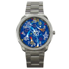 Line Star Space Blue Sky Light Rainbow Red Orange White Yellow Sport Metal Watch by Mariart