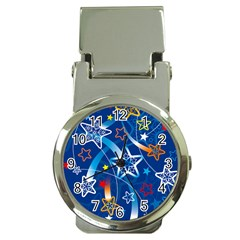 Line Star Space Blue Sky Light Rainbow Red Orange White Yellow Money Clip Watches