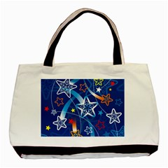 Line Star Space Blue Sky Light Rainbow Red Orange White Yellow Basic Tote Bag by Mariart