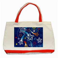 Line Star Space Blue Sky Light Rainbow Red Orange White Yellow Classic Tote Bag (red) by Mariart