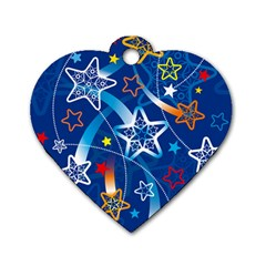 Line Star Space Blue Sky Light Rainbow Red Orange White Yellow Dog Tag Heart (one Side)