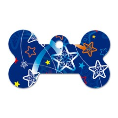 Line Star Space Blue Sky Light Rainbow Red Orange White Yellow Dog Tag Bone (two Sides) by Mariart