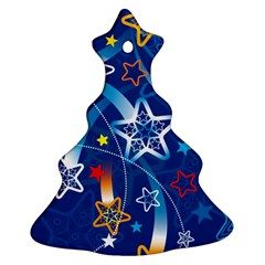 Line Star Space Blue Sky Light Rainbow Red Orange White Yellow Ornament (christmas Tree)  by Mariart