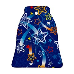 Line Star Space Blue Sky Light Rainbow Red Orange White Yellow Bell Ornament (two Sides) by Mariart