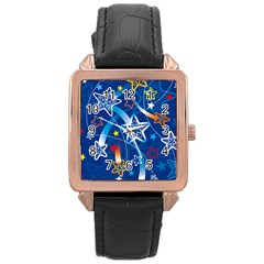 Line Star Space Blue Sky Light Rainbow Red Orange White Yellow Rose Gold Leather Watch  by Mariart