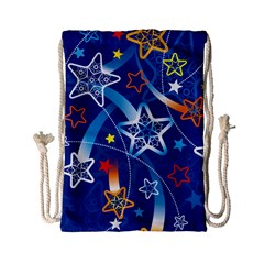 Line Star Space Blue Sky Light Rainbow Red Orange White Yellow Drawstring Bag (small) by Mariart