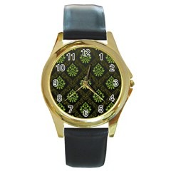 Leaf Green Round Gold Metal Watch by Mariart