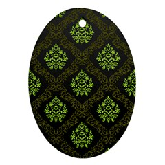 Leaf Green Oval Ornament (two Sides) by Mariart