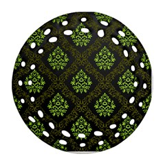 Leaf Green Ornament (round Filigree) by Mariart