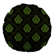 Leaf Green Large 18  Premium Round Cushions by Mariart