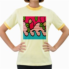 Rose Floral Circle Line Polka Dot Leaf Pink Blue Green Women s Fitted Ringer T Shirts