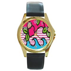 Rose Floral Circle Line Polka Dot Leaf Pink Blue Green Round Gold Metal Watch by Mariart