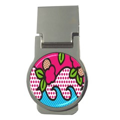 Rose Floral Circle Line Polka Dot Leaf Pink Blue Green Money Clips (round)  by Mariart