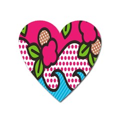 Rose Floral Circle Line Polka Dot Leaf Pink Blue Green Heart Magnet by Mariart